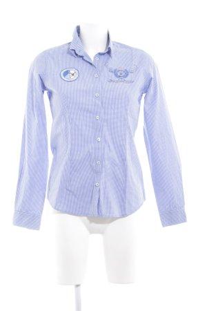 Montego Langarmhemd stahlblau-weiß Karomuster Business-Look