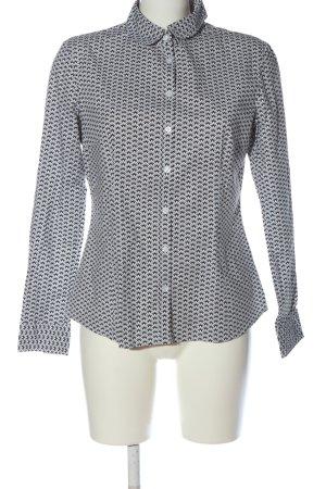 Montego Langarmhemd weiß-schwarz Allover-Druck Casual-Look