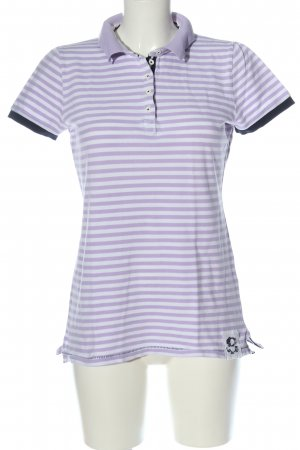 Montego Polo Shirt lilac-white striped pattern casual look