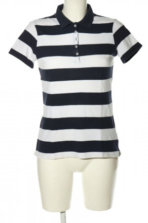 Montego Polo-Shirt schwarz-weiß Streifenmuster Casual-Look