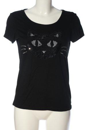Montego Print-Shirt schwarz-silberfarben Schriftzug gestickt Casual-Look
