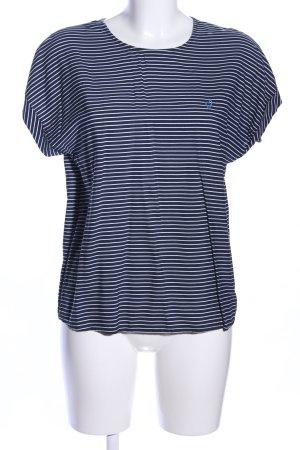 Montego Rippshirt blau-weiß Motivdruck Casual-Look