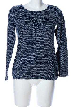 Montego Rundhalspullover blau-türkis Allover-Druck Business-Look