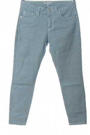 Montego Stoffhose blau-weiß Allover-Druck Casual-Look