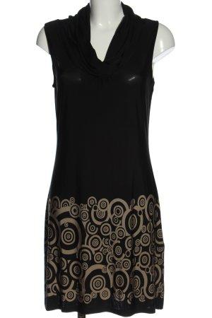 Montego Strickkleid schwarz-braun grafisches Muster Casual-Look