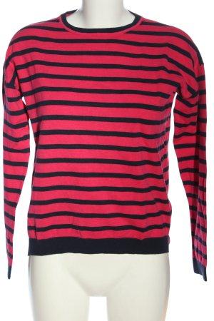 Montego Strickpullover rot-schwarz Streifenmuster Casual-Look