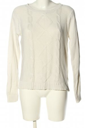 Montego Strickpullover weiß Zopfmuster Casual-Look