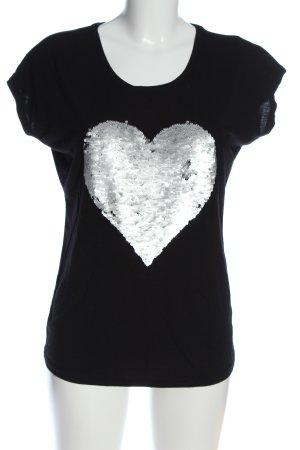 Montego T-Shirt schwarz-silberfarben Motivdruck Casual-Look