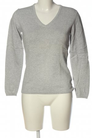 Montego V-Ausschnitt-Pullover hellgrau meliert Casual-Look