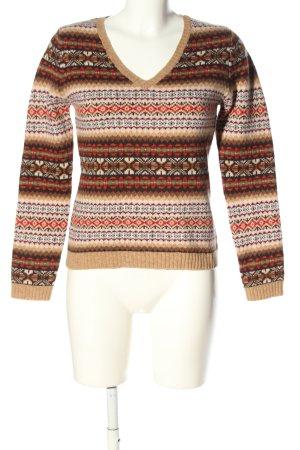 Montego V-Ausschnitt-Pullover Allover-Druck Casual-Look