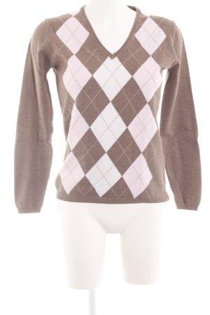 Montego V-Ausschnitt-Pullover braun-weiß grafisches Muster Casual-Look