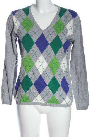 Montego V-Ausschnitt-Pullover grafisches Muster Casual-Look