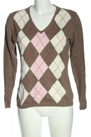 Montego V-Ausschnitt-Pullover Karomuster Casual-Look