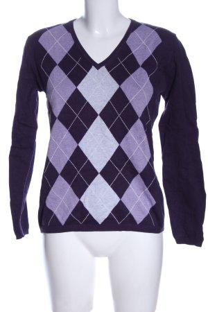 Montego V-Ausschnitt-Pullover lila grafisches Muster Casual-Look