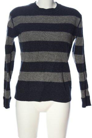 Montego Wełniany sweter jasnoszary-niebieski Wzór w paski W stylu casual