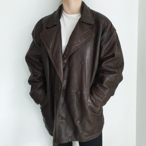 Montes 48 Echtleder True Vintage Lederjacke Bikerjacke braun Oversize parka Mantel Jacke