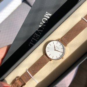 Monvell Reloj con pulsera metálica blanco