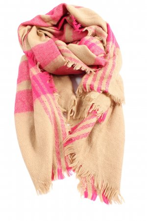 Mooks Fringed Scarf nude-pink check pattern casual look