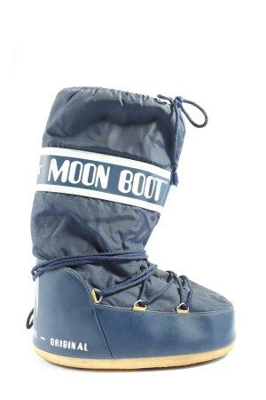 Moon boot Snowboots blau-weiß Schriftzug gedruckt Casual-Look
