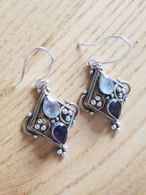 Handmade Boucles d'oreilles en argent argenté-gris violet
