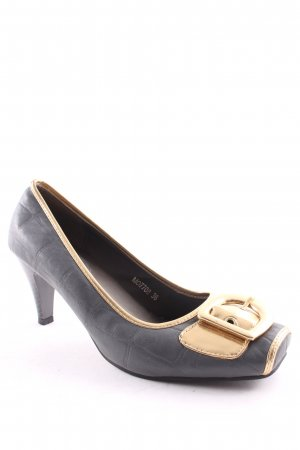 Moow Backless Pumps grey-gold-colored extravagant style