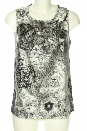More & More ärmellose Bluse schwarz-weiß abstraktes Muster Casual-Look