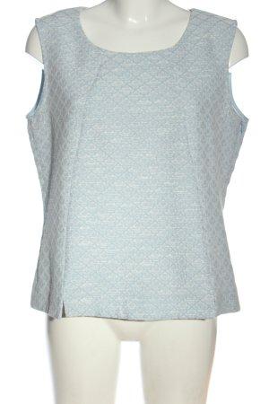 More & More ärmellose Bluse weiß-blau Allover-Druck Casual-Look