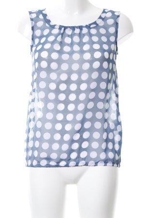 More & More ärmellose Bluse blau-weiß Punktemuster Casual-Look