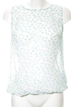 More & More ärmellose Bluse türkis-weiß Punktemuster Casual-Look