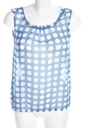 More & More Blouse topje blauw-wit gestippeld patroon casual uitstraling