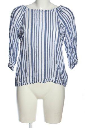 More & More Blusa alla Carmen blu-bianco stampa integrale stile casual