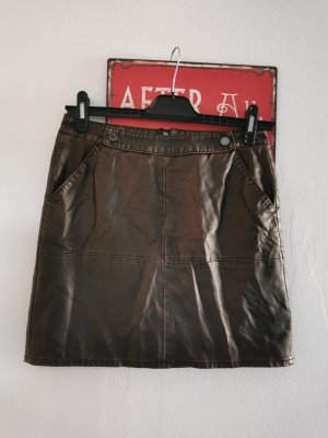 More & More Faux Leather Skirt bronze-colored-brown red