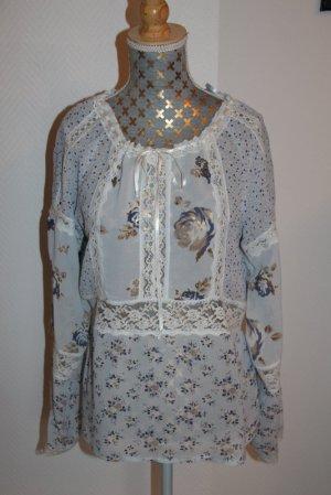 More&More edle Bluse  Gr. 42 floral semitransparent NEU