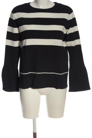 More & More Feinstrickpullover schwarz-weiß Streifenmuster Casual-Look