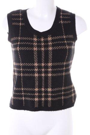 More & More Cardigan en maille fine noir-brun motif à carreaux