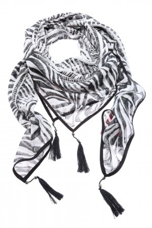 More & More Fringed Scarf black-white allover print casual look