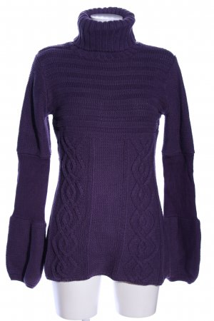 More & More Grobstrickpullover lila Zopfmuster Casual-Look
