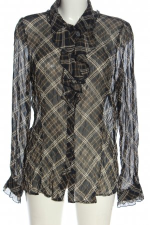 More & More Hemd-Bluse schwarz-braun Allover-Druck Business-Look