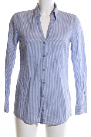 More & More Hemd-Bluse blau-weiß Streifenmuster Business-Look