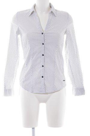More & More Hemd-Bluse weiß-schwarz Punktemuster schlichter Stil