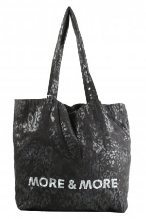 More & More Burlap Bag black-light grey printed lettering casual look