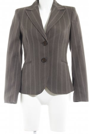 More & More Korte blazer grijs-bruin gestreept patroon zakelijke stijl