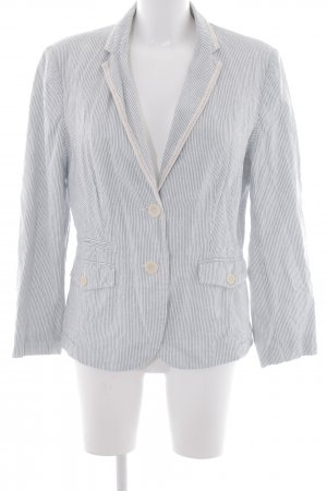 More & More Kurz-Blazer weiß-blau Streifenmuster Textil-Applikation