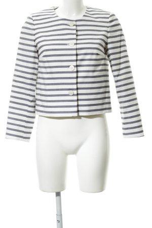 More & More Kurz-Blazer weiß-graublau Streifenmuster Business-Look