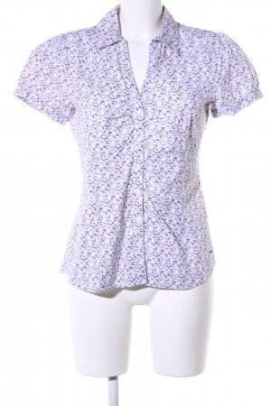 More & More Kurzarm-Bluse lila-weiß Allover-Druck Casual-Look