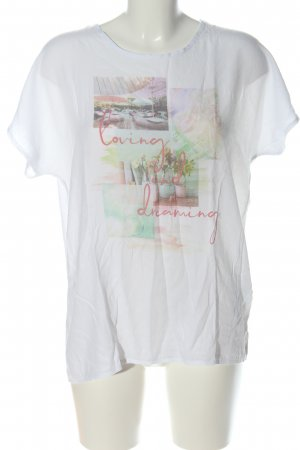 More & More Kurzarm-Bluse Motivdruck Casual-Look