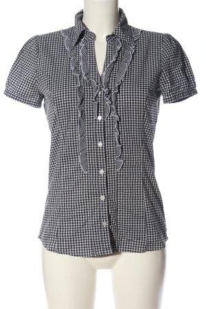 More & More Kurzarm-Bluse schwarz-weiß Allover-Druck Business-Look