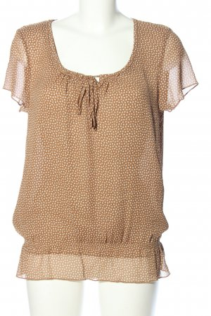 More & More Kurzarm-Bluse braun Allover-Druck Casual-Look