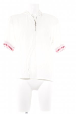 More & More Kurzarm-Bluse creme-hellrosa Casual-Look