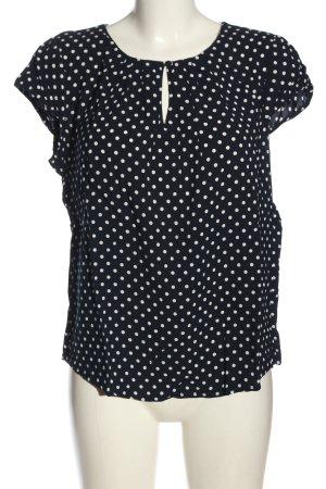 More & More Kurzarm-Bluse blau-weiß Punktemuster Elegant